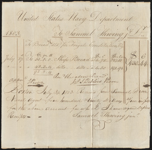 Receipt for Ship's Bread, July 27, 1803
