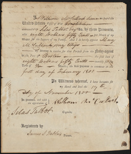 Pay Allotment for William McCullock, November 17, 1800