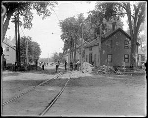 Lowell Street looking west from Elm Street during construction of street railroad
