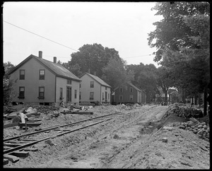 Lowell Street looking north during construction of railroad