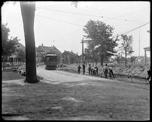 Talbot Avenue looking east from Elm Street during construction of street railroad