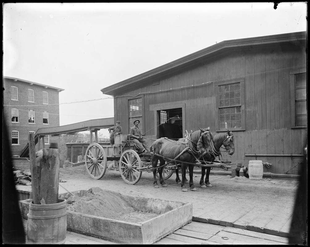 Front of logwood mill and two horse team