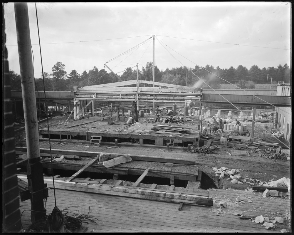 Boiler house and middle ell construction from repair shop window