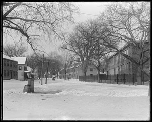 Elm Street, looking up from town scales, snow scene