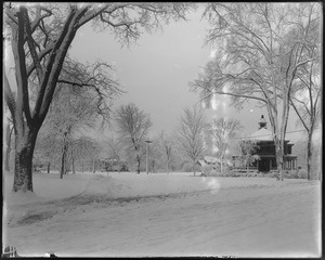 Post Office and Talbot Avenue from in front of Rep. Club House, snow view
