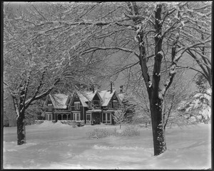 Mr. F. S. Clark's house after snow storm, front from street