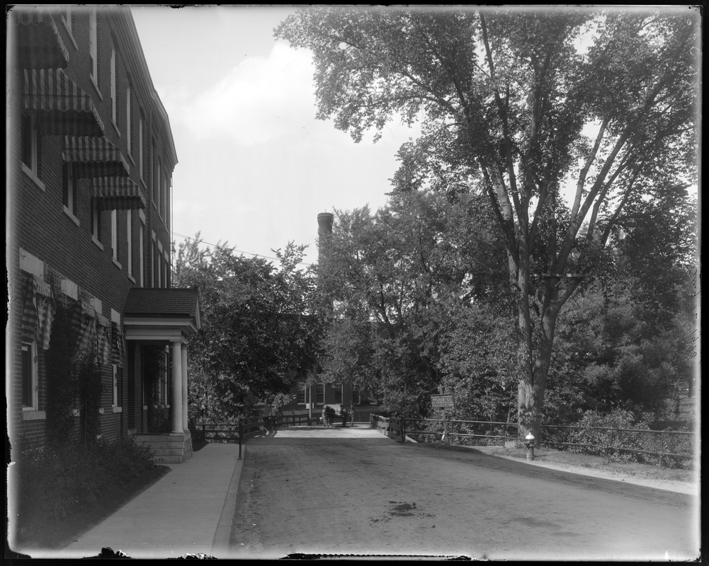 Wooden Bridge at No. Billerica from street at south side, with coal team, J. Murphy driving
