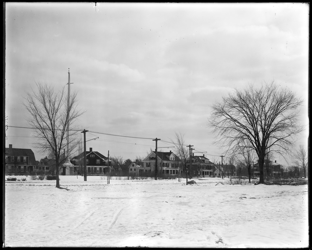 Park and Talbot Avenue houses from field south of the park