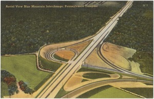 Aerial view Blue Mountain Interchange, Pennsylvania Turnpike