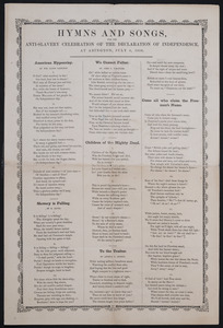 Hymns and songs, anti-slavery celebration of the Declaration of Independence at Abington, July 4, 1850