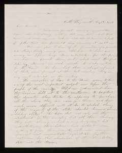 Letter from Eliza T. Loud, Secty, South Weymouth Female Anti-slavery Society to Mrs. Hannah Cranch Bond Fifield, 1837 Aug 17
