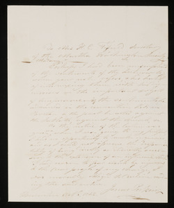 Letter from Rev. Jonas Perkins, Union Church of Weymouth & Braintree to Mrs. Hannah Cranch Bond Fifield, 1842 Oct 6