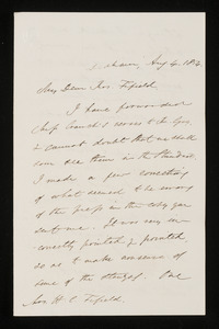 Letter from Edmund Quincy, Dedham, to Mrs. Hannah Cranch Bond Fifield, 1854 Aug 4 and Aug 9