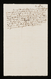 Draft letter from Cotton Tufts to Abigail Adams[?], 29 Dec 1800