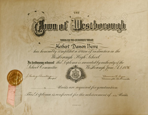 High School Diploma of Herbert Damon Berry