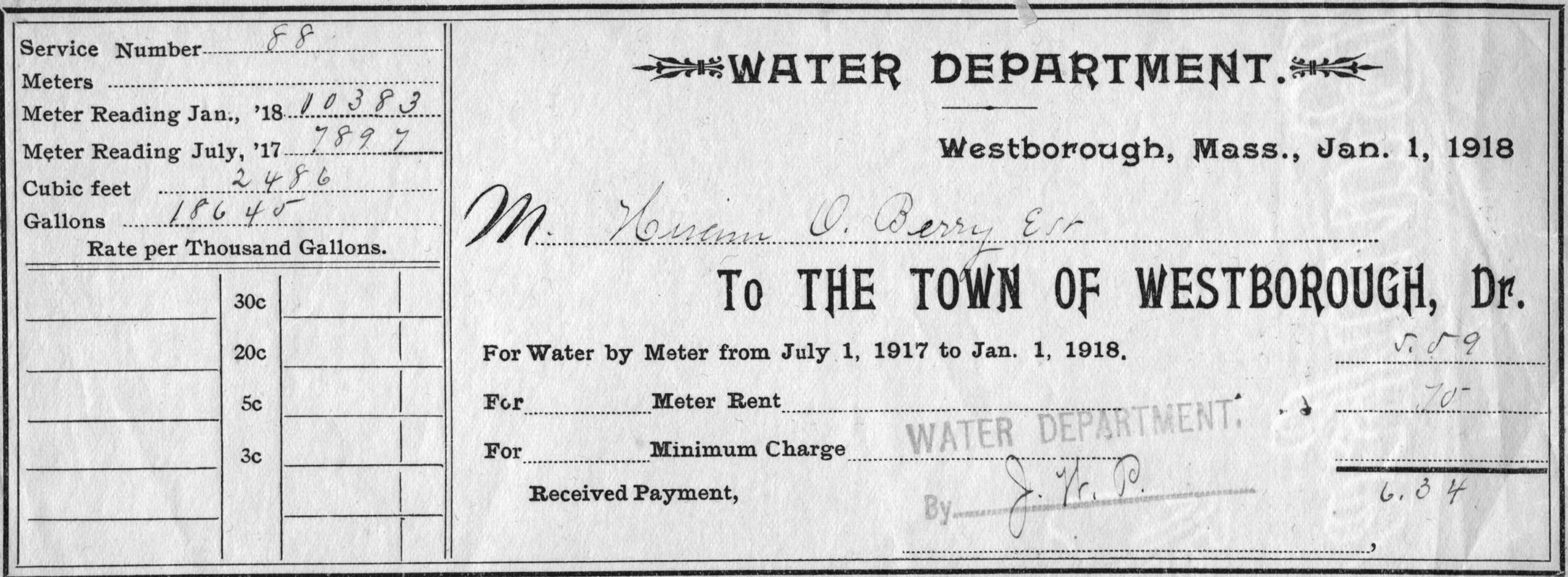 Westborough Water Department Bill - Digital Commonwealth