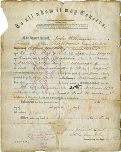 Military furlough paper for John W. Bowman