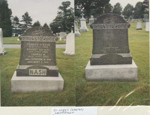 Gravestone of Francis H. Nash and Bridget Nash in St. Luke's Cemetery