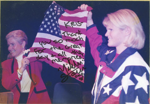 Nikki Stone, gold medalist, presents U.S. flag that flew over Olympics in Nagano, Japan