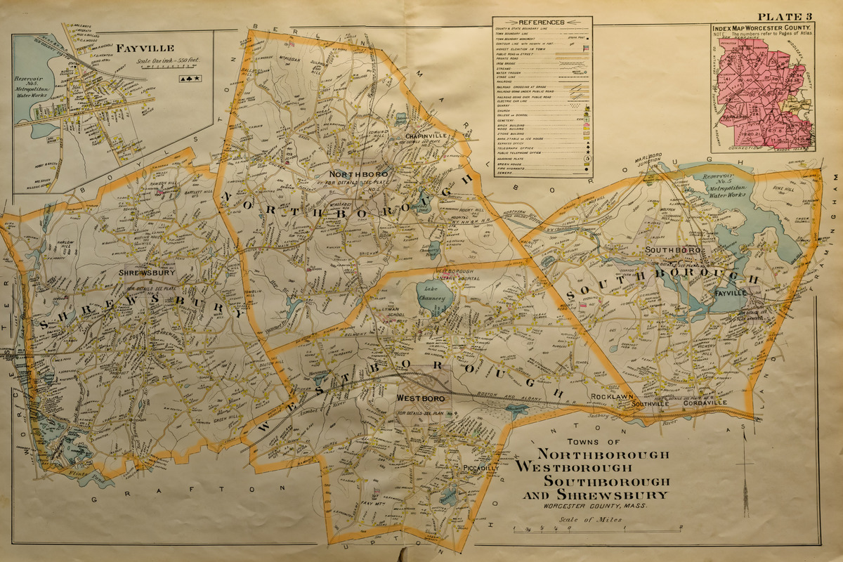 Map of the towns of Northborough, Westborough, Southborough ...