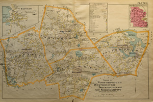 Map of the towns of Northborough, Westborough, Southborough, and Shrewsbury