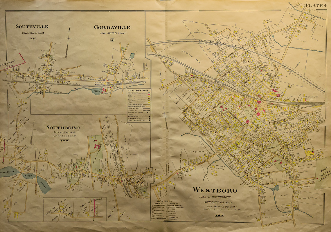 Map of the towns of Southborough, Southville, Cordville, and Westborough