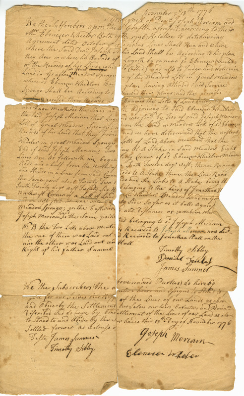 Legal agreement between Joseph Meriam and Ebenezer Wheeler