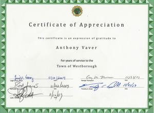 Certificate of appreciation for service to Westborough