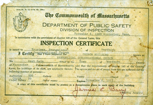 Inspection certificate for the Evangelical Congregational Church
