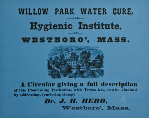 """Willow Park Water Cure and Hygienic Institute"" circular"