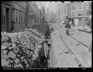 Electrolysis, Northern High Service Pipe Lines, Section 27, Washington Street, relaying 12-inch pipe pitted by electrolysis, Lynn, Mass., Oct. 25, 1904