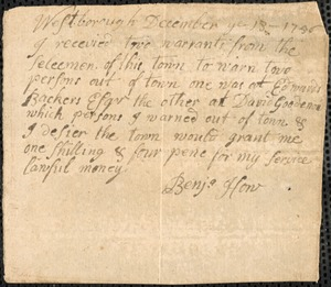 Warned Out of Town, 1756, 1782