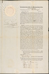 Warrants from the Governor to Select Representatives to Congress, 1833-1846