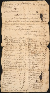 Account of Service By Members of the Minute Company, 1775