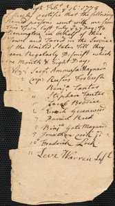Certification of Soldiers Who Fought at Bennington and Discharged, 1778