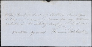 Bills and Receipts for Services, 1861-1862