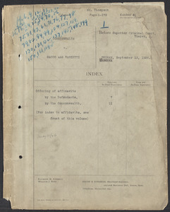Sacco-Vanzetti Case Records, 1920-1928. Defense Papers. Hearing on Motion for New Trial, September 13, 1926. Box 20, Folder 1, Harvard Law School Library, Historical & Special Collections