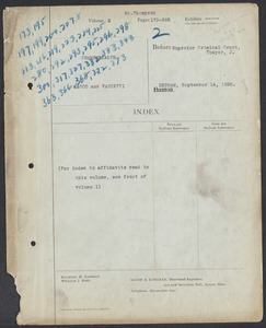 Sacco-Vanzetti Case Records, 1920-1928. Defense Papers. Hearing on Motion for New Trial, September 14, 1926. Box 20, Folder 2, Harvard Law School Library, Historical & Special Collections