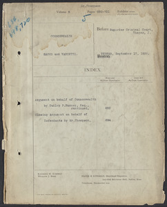 Sacco-Vanzetti Case Records, 1920-1928. Defense Papers. Hearing on Motion for New Trial, September 17, 1926. Box 20, Folder 5, Harvard Law School Library, Historical & Special Collections