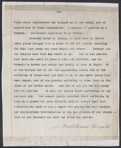Sacco-Vanzetti Case Records, 1920-1928. Defense Papers. Letter to Gov. Fuller from Vanzetti (signed fragment), 1927. Box 20, Folder 7, Harvard Law School Library, Historical & Special Collections