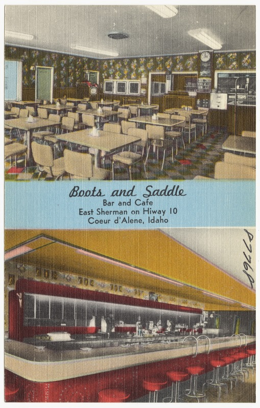 Boots and Saddle, bar and café, East Sherman on Hiway 10, Coeur d'Alene, Idaho