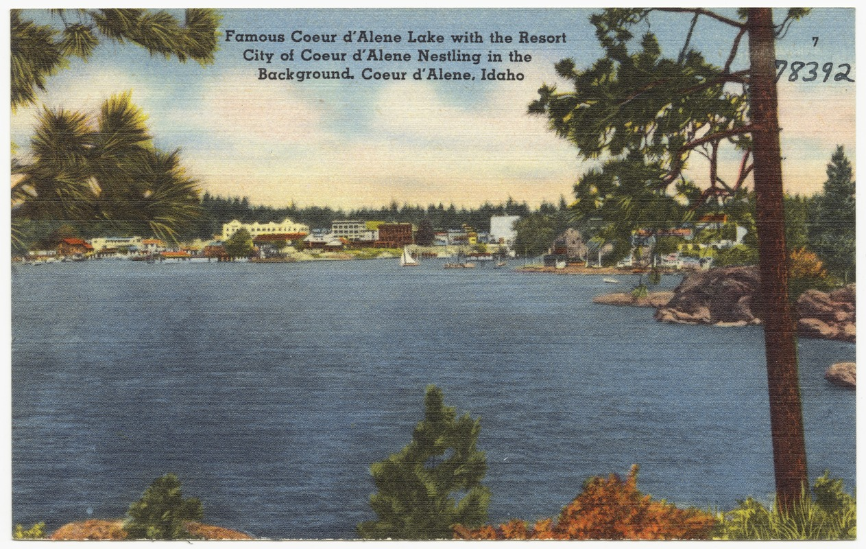 Famous Coeur d'Alene Lake with the resort city of Coeur d'Alene in the background, Coeur d'Alene, Idaho
