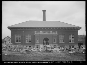 Distribution Department, Arlington Pumping Station, construction progress, from the west, Arlington, Mass., May 16, 1907