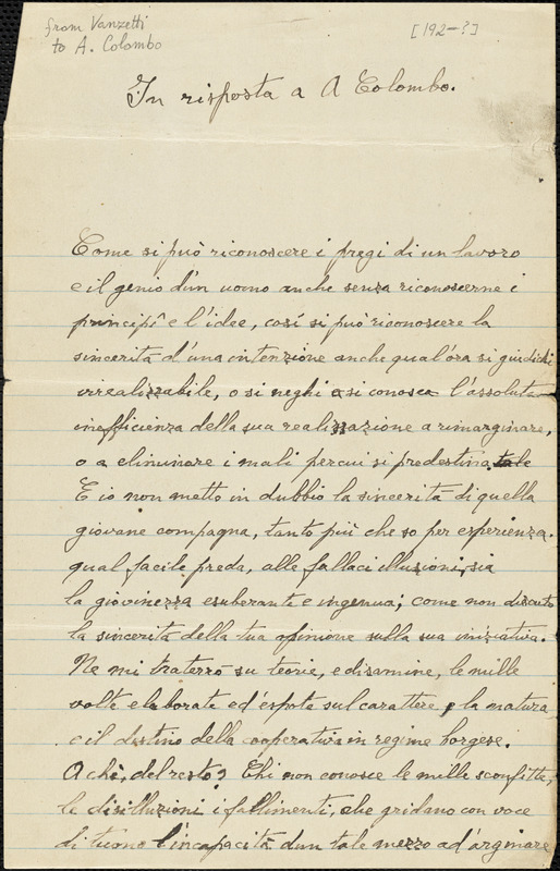Bartolomeo Vanzetti autographed letter signed to A. Colombo, [Charlestown, 192-]