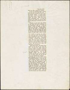 Bartolomeo Vanzetti printed letter to [Elizabeth] Glendower Evans, [Charlestown], 22 July 1921