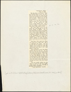 Bartolomeo Vanzetti printed letter to Elizabeth Glendower Evans, Charlestown, 2 December 1921