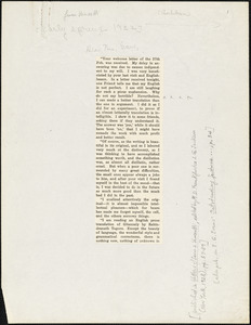 Bartolomeo Vanzetti printed letter to [Elizabeth Glendower Evans], [Charlestown], early Spring, 1922