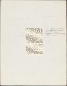 Bartolomeo Vanzetti printed letter to Elizabeth Glendower Evans, [Charlestown, Winter 1923]