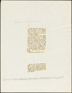 Bartolomeo Vanzetti printed extracts from two letters to Elizabeth Glendower Evans, [Charlestown], Summer 1923