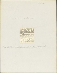 Bartolomeo Vanzetti printed extract from a letter to [Elizabeth Glendower Evans], [Charlestown, Winter 1923]